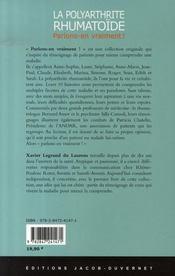 La polyarthrite rhumatoïde - 4ème de couverture - Format classique