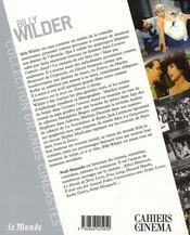 Billy Wilder - 4ème de couverture - Format classique