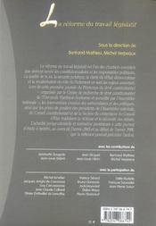 La reforme du travail legislatif - 1ere edition - 4ème de couverture - Format classique