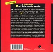 Essentiel du droit de la securite sociale 2002 (l') - 4ème de couverture - Format classique