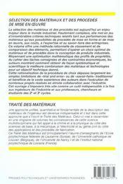 Traite des materiaux volume 20.selectiondes materiaux & des procedes mise en oeu - 4ème de couverture - Format classique