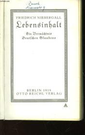 Lebensinhalt - Couverture - Format classique