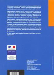 Indicateurs staistiques de l'audiovisuel cinema television video ; edition 2001 - 4ème de couverture - Format classique