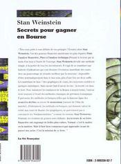 Secrets Pour Gagner En Bourse - 4ème de couverture - Format classique