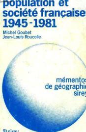 Population Et Societe Francaises, 1945-1981 - Couverture - Format classique