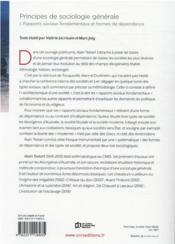 Principes de sociologie générale t.1 : dépendances et rapports sociaux - 4ème de couverture - Format classique