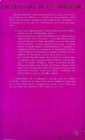 Dictionnaire De La Negritude - 4ème de couverture - Format classique