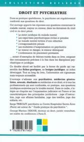Droit Et Psychiatrie, Guide Pratique - 4ème de couverture - Format classique