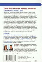 Entrer Dans La Fonction Publique Territoriale - 4ème de couverture - Format classique