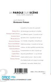 La parole sur scène ; voix, texte, signifié - 4ème de couverture - Format classique