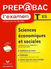 Sciences Economiques Et Sociales Terminale Es - Intérieur - Format classique