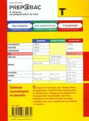 Sciences Economiques Et Sociales Terminale Es - 4ème de couverture - Format classique