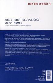 Juge et droit des sociétés en 70 thèmes ; textes, commentaires, jurisprudence - 4ème de couverture - Format classique