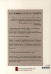 Camille Claudel ; une mise au tombeau - 4ème de couverture - Format classique