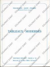 TABLEAUX MODERNES. [BRAUNER. COCTEAU. HUGO. LABOUREUR. LEBASQUE. BELAY. LEBOURG. BESNARD. COSSON. DESPIERRE. DUVAL-GOZLAN. LUCE. MACLET. MOUGIN. SCHERTEL]. 12/10/1988. (Poids de 80 grammes) - Couverture - Format classique