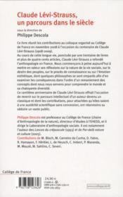 Claude Lévi-Strauss, un parcours dans le siècle - 4ème de couverture - Format classique