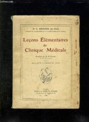 Lecons Elementaires De Clinique Medicale. - Couverture - Format classique