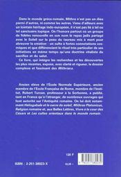 Mithra et le mithriacisme - 4ème de couverture - Format classique