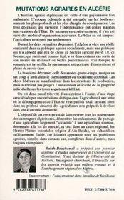 Mutations Agraires En Algerie - 4ème de couverture - Format classique