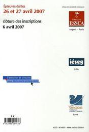 Concours Acces (edition 2006-2007) - 4ème de couverture - Format classique