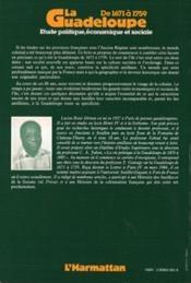 Guadeloupe De 1671 A 1759: Etude Politique...Volume2 - 4ème de couverture - Format classique