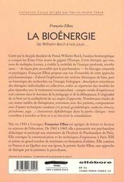 Bioenergie - Approche Psychosomatique - 4ème de couverture - Format classique