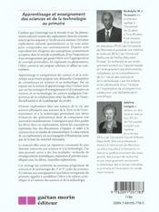 Apprentissage et enseignement des sciences et de la technique au primaire - 4ème de couverture - Format classique