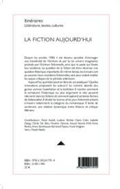 La fiction aujourd'hui - 4ème de couverture - Format classique