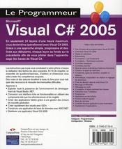 Visual C# 2005 - 4ème de couverture - Format classique