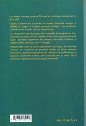 Cinquante exercices en introduction au droit - 4ème de couverture - Format classique