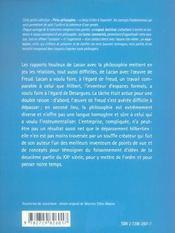 Lacan Y'A-T-Il Une Philosophie De Lacan - 4ème de couverture - Format classique
