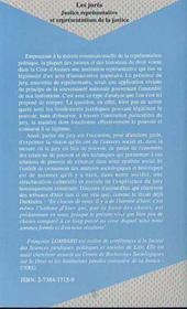 Les jurés ; justice représentative et représentations de la justice - 4ème de couverture - Format classique