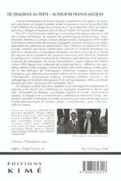 Du Dialogue Au Texte/Francis Jacques - 4ème de couverture - Format classique