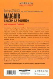 Maigrir: Chacun Sa Solution - 4ème de couverture - Format classique