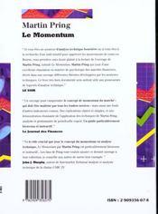 Le momentum par martin pring - 4ème de couverture - Format classique