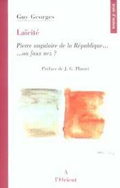 Laicite. pierre angulaire de la republique - Intérieur - Format classique