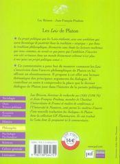 Les lois de platon - 4ème de couverture - Format classique