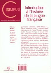Introduction à l'histoire de la langue française - 4ème de couverture - Format classique