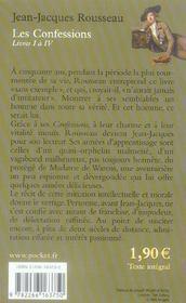 Les confessions ; livres I à IV - 4ème de couverture - Format classique
