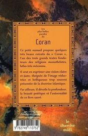 Les plus belles paroles du Coran - 4ème de couverture - Format classique