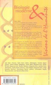 Biologie Moderne Et Visions De L'Humanite - 4ème de couverture - Format classique