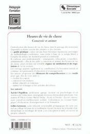 Heures De Vie De Classe - Concevoir Et Animer - 4ème de couverture - Format classique