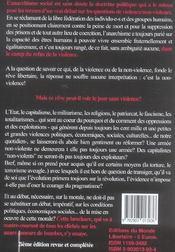 Anarchisme, Violence/Non-Violence (2e édition) - 4ème de couverture - Format classique
