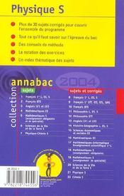 Annabac ; Sujets Corriges (édition 2004) - 4ème de couverture - Format classique