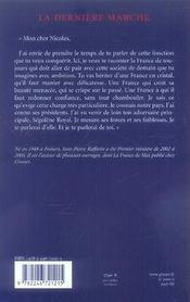 La Derniere Marche ; Lettre A Nicolas Sarkozy - 4ème de couverture - Format classique