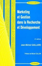 Marketing Et Gestion Dans La Recherche Et Developpement - Intérieur - Format classique