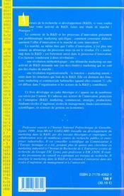 Marketing Et Gestion Dans La Recherche Et Developpement - 4ème de couverture - Format classique