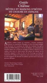 Hotels et maisons d'hotes de charme en espagne - 4ème de couverture - Format classique