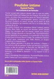 Poulidor intime - 4ème de couverture - Format classique