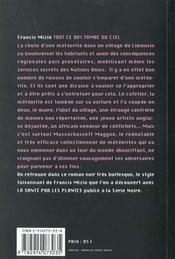 Tout Ce Qui Tombe Du Ciel - 4ème de couverture - Format classique